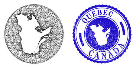 Mesh hole round Quebec Province map and scratched seal stamp. Quebec Province map is a hole in a round stamp. Web network vector Quebec Province map in a circle. Blue round grunge stamp.