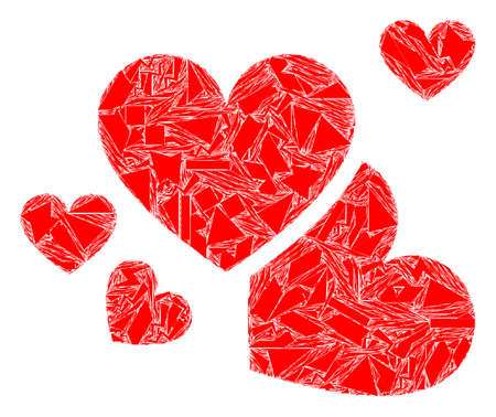 Debris mosaic love hearts icon. Love hearts mosaic icon of debris items which have various sizes, and positions, and color tints. Vector collage for abstract images.