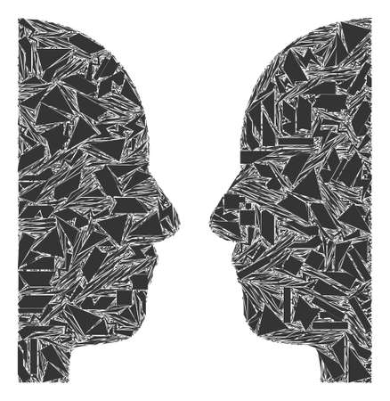 Debris mosaic dual face icon. Dual face mosaic icon of debris items which have different sizes, and positions, and color tints. Vector combination for abstract images.