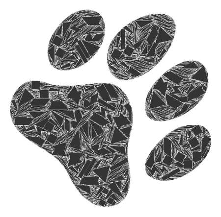 Shard mosaic paw footprint icon. Paw footprint mosaic icon of spall items which have randomized sizes, and positions, and color tints. Vector collage for abstract images.