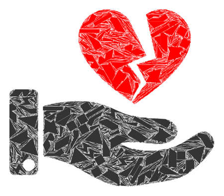Shards mosaic break heart offer icon. Break heart offer mosaic icon of shards elements which have randomized sizes, and positions, and color hues. Vector composition for abstract images.