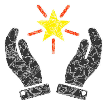 Spall mosaic shine star care hands icon. Shine star care hands mosaic icon of shards items which have different sizes, and positions, and color shades. Vector composition for abstract images.