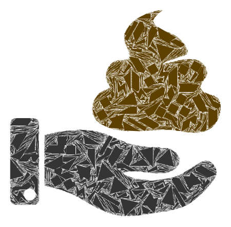 Debris mosaic hand give shit icon. Hand give shit mosaic icon of debris items which have different sizes, and positions, and color shades. Vector collage for abstract images. Ilustração