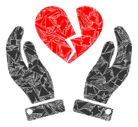 Shards mosaic broken heart care hands icon. Broken heart care hands collage icon of detritus elements which have randomized sizes, and positions, and color tints. Vector collage for abstract images.