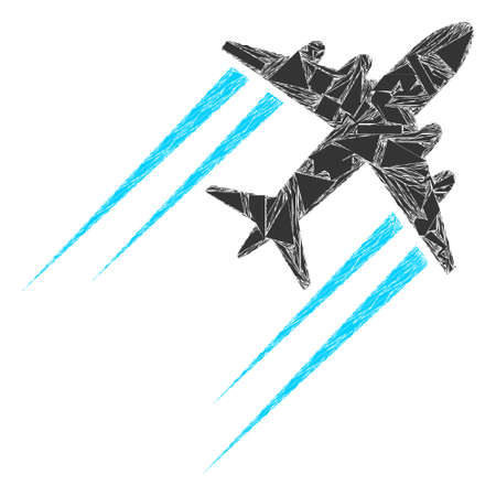 Detritus mosaic flying airplane trace icon. Flying airplane trace collage icon of detritus items which have different sizes, and positions, and color hues. Vector collage for abstract images. 向量圖像