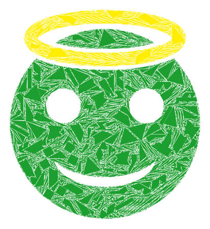 Shards mosaic holy smiley icon. Holy smiley mosaic icon of shards items which have variable sizes, and positions, and color tones. Vector collage for abstract images.
