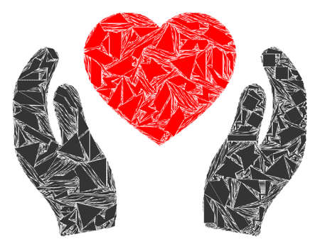 Spall mosaic romantic heart care hands icon. Romantic heart care hands mosaic icon of spall elements which have different sizes, and positions, and color hues. Vector combination for abstract images.
