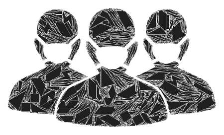 Debris mosaic mask people group icon. Mask people group mosaic icon of debris elements which have different sizes, and positions, and color tones. Vector composition for abstract images.