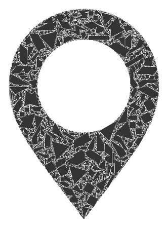 Shards mosaic map pointer icon. Map pointer mosaic icon of shards items which have various sizes, and positions, and color hues. Vector composition for abstract images.