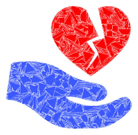 Shatter mosaic broken heart offer hand icon. Broken heart offer hand mosaic icon of shatter items which have randomized sizes, and positions, and color hues. Vector composition for abstract images.