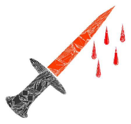 Fragment mosaic blood sword icon. Blood sword collage icon of debris elements which have variable sizes, and positions, and color tinges. Vector collage for abstract images.