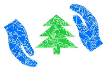 Fragment mosaic fir tree care hands icon. Fir tree care hands mosaic icon of debris elements which have various sizes, and positions, and color tints. Vector collage for abstract images.