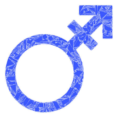 Shard mosaic alternate gender symbol icon. Alternate gender symbol mosaic icon of shatter elements which have variable sizes, and positions, and color tints. Vector composition for abstract images.