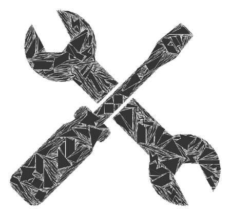 Shards mosaic screwdriver and wrench icon. Screwdriver and wrench mosaic icon of fragment elements which have variable sizes, and positions, and color hues. Vector collage for abstract images. Ilustração