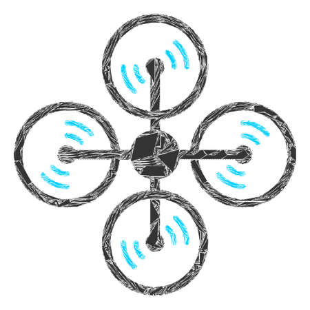Shatter mosaic air copter icon. Air copter mosaic icon of shatter elements which have variable sizes, and positions, and color tints. Vector composition for abstract images.