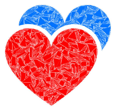 Debris mosaic love hearts icon. Love hearts mosaic icon of debris elements which have variable sizes, and positions, and color tones. Vector collage for abstract images. Векторная Иллюстрация