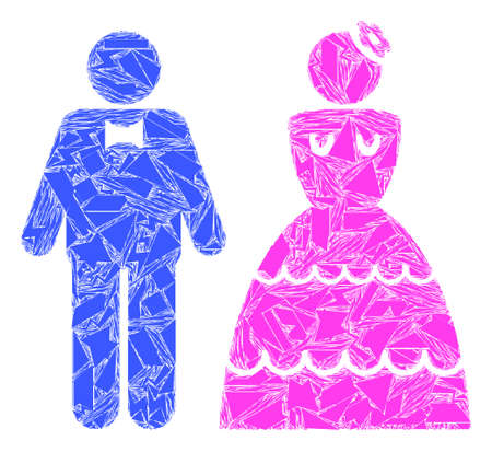 Debris mosaic wedding pair icon. Wedding pair collage icon of debris elements which have randomized sizes, and positions, and color tinges. Vector collage for abstract images.