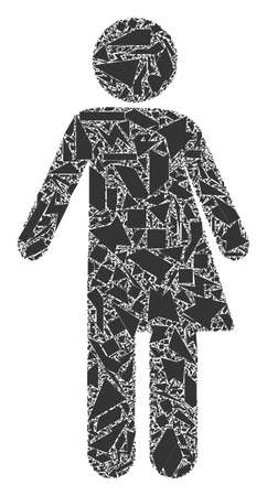 Debris mosaic third gender icon. Third gender mosaic icon of debris items which have randomized sizes, and positions, and color tinges. Vector combination for abstract images.