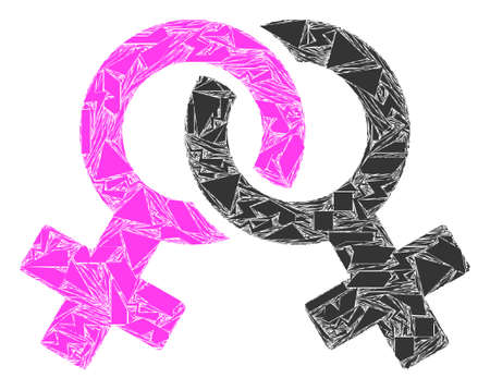 Spall mosaic symbol icon. Lesbian symbol collage icon of spall elements which have variable sizes, and positions, and color tinges. Vector collage for abstract images.