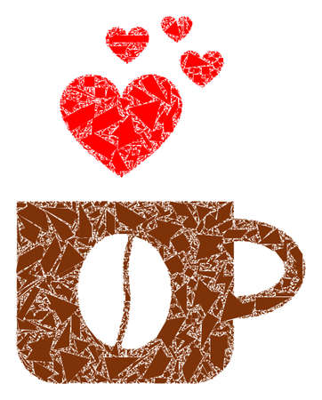 Detritus mosaic love coffee cup icon. Love coffee cup collage icon of detritus elements which have various sizes, and positions, and color tinges. Vector collage for abstract images. Illustration