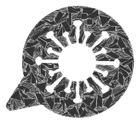 Fragment mosaic viral message icon. Viral message mosaic icon of shards items which have randomized sizes, and positions, and color tones. Vector composition for abstract images.