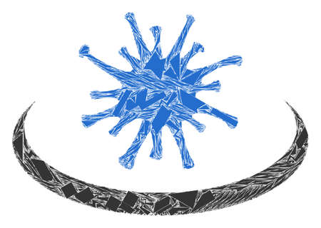 Debris mosaic virus area icon. Virus area collage icon of debris elements which have randomized sizes, and positions, and color shades. Vector composition for abstract images. 矢量图像