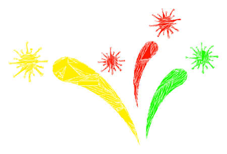 Shard mosaic virus fireworks icon. Virus fireworks mosaic icon of shards items which have randomized sizes, and positions, and color shades. Vector combination for abstract images.