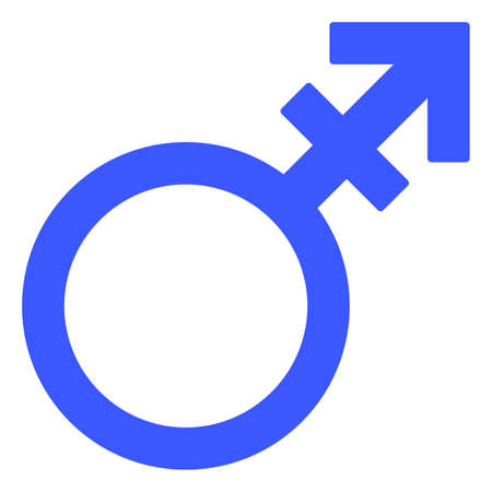 Alternate Gender Symbol raster illustration. A flat illustration iconic design of Alternate Gender Symbol on a white background.