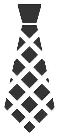 Checkered Tie raster illustration. A flat illustration iconic design of Checkered Tie on a white background.