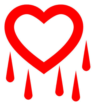 Crying Heart raster illustration. A flat illustration iconic design of Crying Heart on a white background.