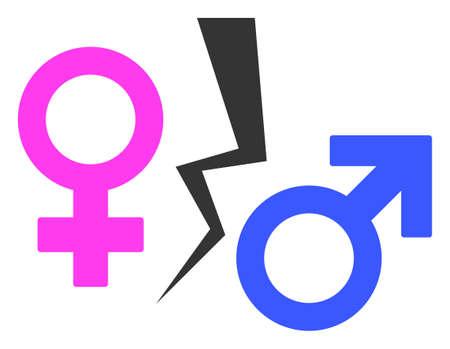 Divorce Symbol raster illustration. A flat illustration iconic design of Divorce Symbol on a white background. 免版税图像 - 154327172