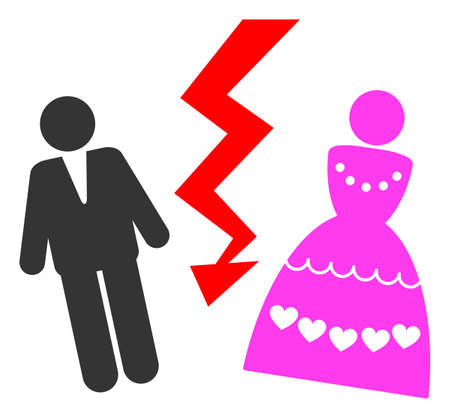 Divorce Persons raster illustration. A flat illustration iconic design of Divorce Persons on a white background.