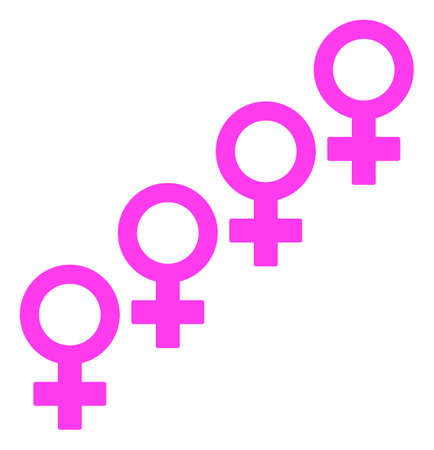 Female Cohort Symbol raster illustration. A flat illustration iconic design of Female Cohort Symbol on a white background.