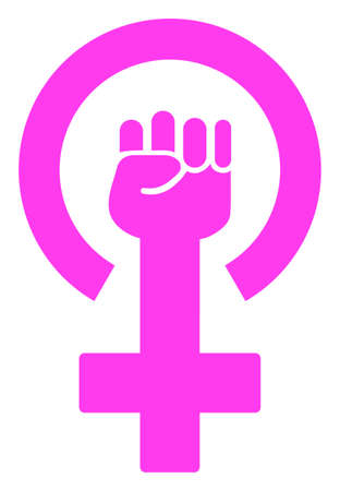 Feminism Symbol  raster illustration. A flat illustration iconic design of Feminism Symbol  on a white background.