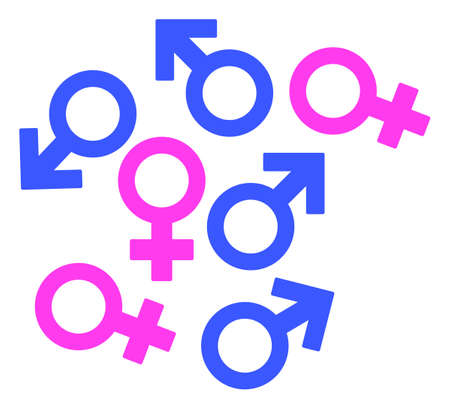 Gender Symbols raster pictogram. A flat illustration iconic design of Gender Symbols on a white background.