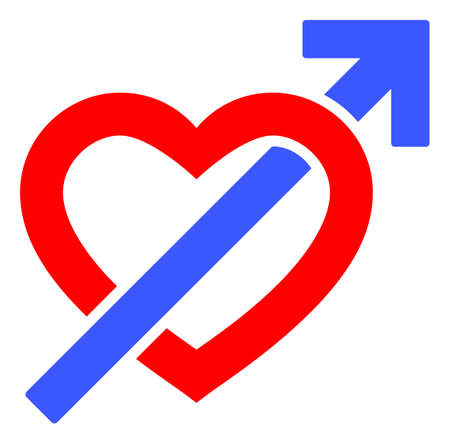 Heart Penetration Arrow raster illustration. A flat illustration iconic design of Heart Penetration Arrow on a white background. 免版税图像