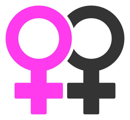 Lesbian Couple Symbol raster illustration. A flat illustration iconic design of Lesbian Couple Symbol on a white background.