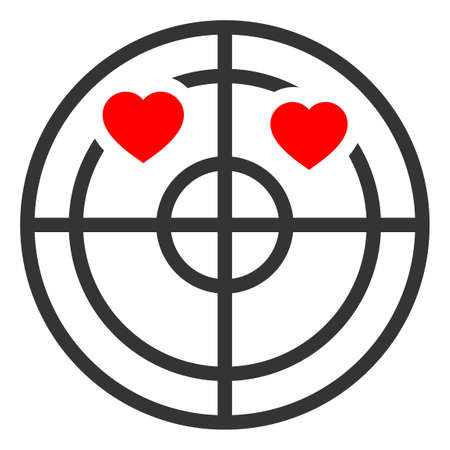 Love Hearts Radar raster illustration. A flat illustration iconic design of Love Hearts Radar on a white background.