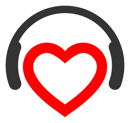 Romantic Dj Headphones raster illustration. A flat illustration iconic design of Romantic Dj Headphones on a white background.