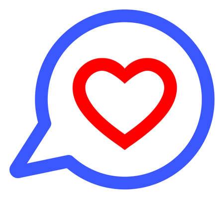 Romantic Heart Message raster illustration. A flat illustration iconic design of Romantic Heart Message on a white background. 免版税图像 - 154327197