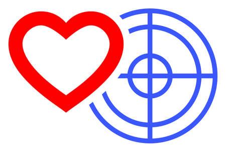 Romantic Heart Target raster illustration. A flat illustration iconic design of Romantic Heart Target on a white background. 免版税图像 - 154327198