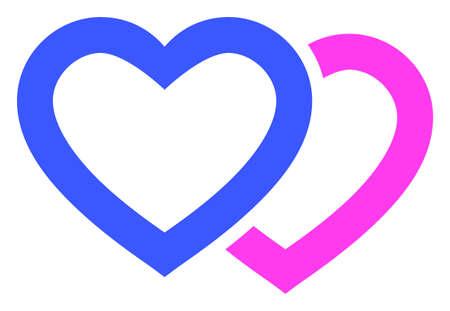 Romantic Hearts raster illustration. A flat illustration iconic design of Romantic Hearts on a white background. 免版税图像 - 154327200