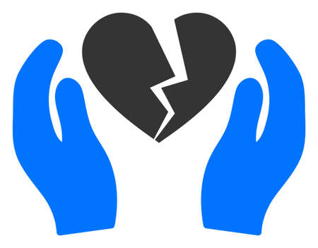 Broken heart care palms raster illustration. A flat illustration iconic design of broken heart care palms on a white background.