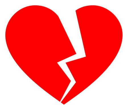Broken love heart raster icon. A flat illustration iconic design of broken love heart on a white background. 免版税图像 - 154327212