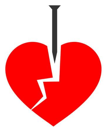Crack love heart raster illustration. A flat illustration iconic design of crack love heart on a white background. 免版税图像 - 154327213