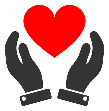 Love heart care hands raster illustration. A flat illustration iconic design of love heart care hands on a white background.