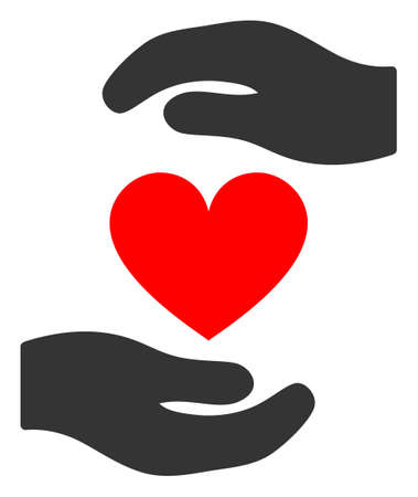 Love heart hands protection raster illustration. A flat illustration iconic design of love heart hands protection on a white background. 免版税图像 - 154327217