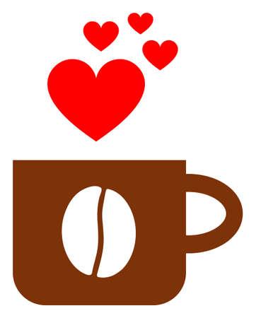 Love coffee cup raster illustration. A flat illustration iconic design of love coffee cup on a white background. 免版税图像 - 154327218