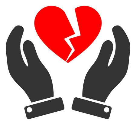 Broken heart care hands raster illustration. A flat illustration iconic design of broken heart care hands on a white background. 免版税图像