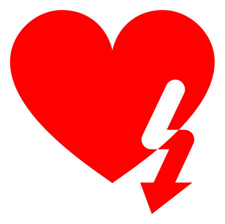 Love heart strike raster illustration. A flat illustration iconic design of love heart strike on a white background. 免版税图像